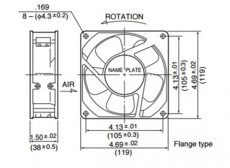 4715MS-12T-B5A | NMB | Осевой вентилятор AC размер 119мм